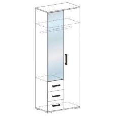 Яна ШК 751 Шкаф 2х створчатый с зеркалом и ящиками (Ясень шимо темный/Ясень шимо светлый)