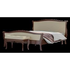 Кровать 1600 с ортопед снованием (ЛДСП Саванна/ кожзам Слоновая кость)