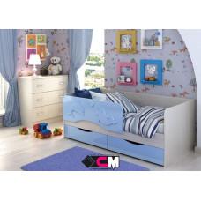 Алиса КР 811 Кровать 1400 МДФ (Дуб Белфорт/ Голубой металлик)