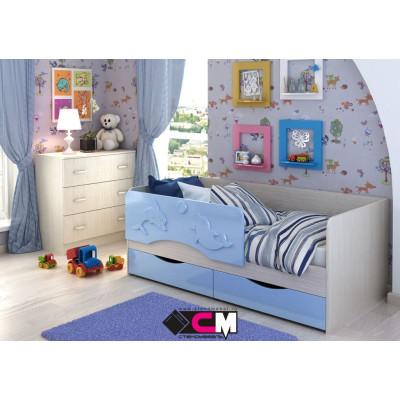 Алиса КР 812 Кровать 1600 МДФ (Дуб Белфорт/ Голубой металлик)