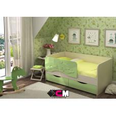 Алиса КР 811 Кровать 1400 МДФ (Дуб Белфорт/ Зелёный металлик)