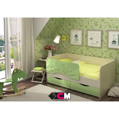 Алиса КР 812 Кровать 1600 МДФ (Дуб Белфорт/ Зелёный металлик)