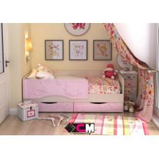 Алиса КР 812 Кровать 1600 МДФ (Дуб Белфорт/ Розовый металлик)