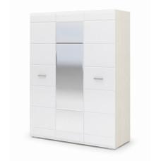 Симба Шкаф 3х створчатый с зеркалом (Дуб белфорт/Белый глянец)