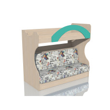 НМ 037.43 Кровать 2х ярусная с Диваном Дуб девонширский/Аква, ткань РИМ Новинка