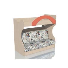 НМ 037.43 Кровать 2х ярусная с Диваном Дуб девонширский/Коралл, ткань РИМ Новинка