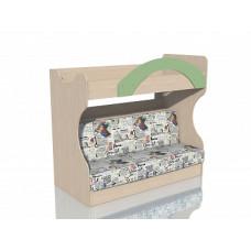 НМ 037.43 Кровать 2х ярусная с Диваном Дуб девонширский/Зеленый, ткань РИМ Новинка