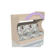 НМ 037.43 Кровать 2х ярусная с Диваном Дуб девонширский/Ирис, ткань РИМ Новинка