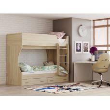 Кровать 2-х ярусная Д2 (дуб сонома / ДВПО: белый)