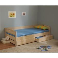 Кровать детская Массив с ящиками (выбеленная береза)