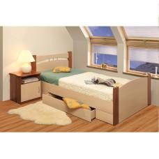 Кровать Олмеко 900 NEW (Дуб линдберг/Ясень шимо темный)